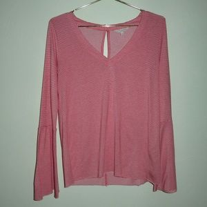 Lucky Brand Red Striped Long Bell Sleeve Top Small